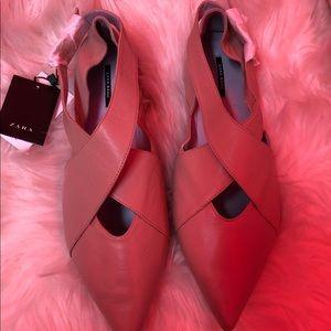 Zara beige leather flat shoes sz 10